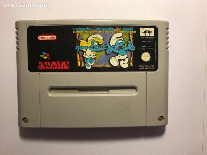 VIDEOJUEGO LOS PITUFOS VIAJAN POR EL MUNDO - CARTUCHO SUPER NINTENDO - 1992 (Juguetes - Videojuegos y Consolas - Nintendo - SuperNintendo)
