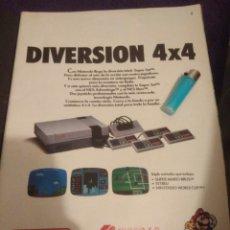 Videojogos e Consolas: ANTIGUO POSTER RECORTE PUBLICIDAD VIDEOJUEGO NINTENDO DIVERSION 4X4 MARIO. Lote 119919918