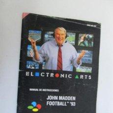 Videojuegos y Consolas: MANUAL DE INSTRUCCIONES - JHON MADDEN FOOTBALL 93 - SUPER NINTENDO . Lote 138797826