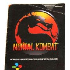 Videojuegos y Consolas: MORTAL KOMBAT SUPER NES NINTENDO B MANUAL INSTRUCCIONES INGLÉS. Lote 146044414