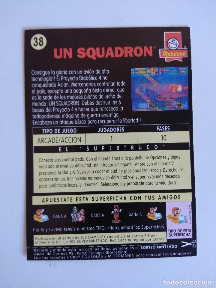 Videojuegos y Consolas: FICHA NINTENDO/MATUTANO Nº38/U.N. SOUADRON. - Foto 2 - 152219914