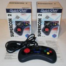 Videojuegos y Consolas: LOTE DE 2 MANDOS JOYSTICK QUICK SHOT QUICKSHOT SUPERCON 2 PARA SUPER NINTENDO SNES QS-160 NUEVOS. Lote 174697934