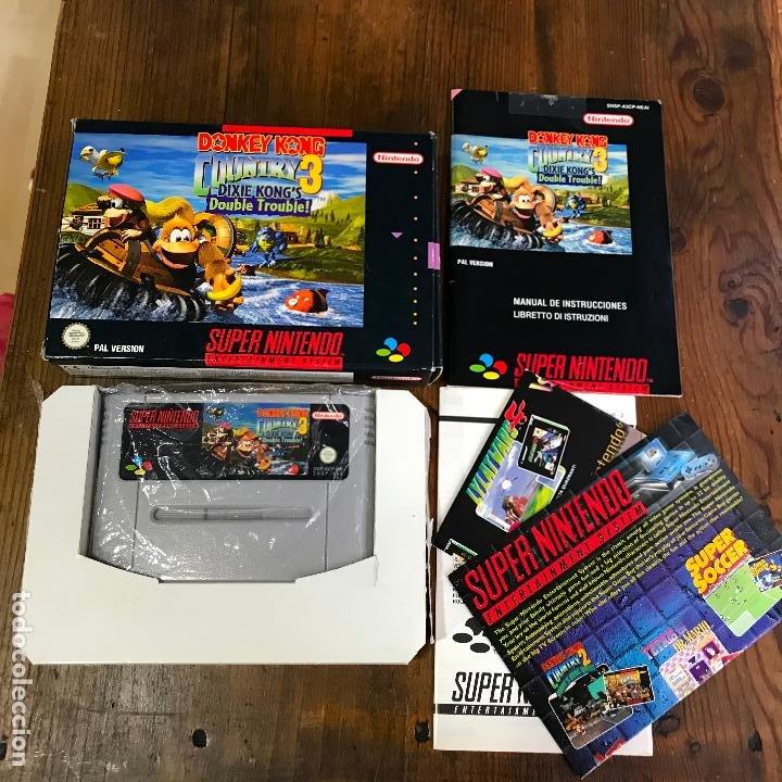SUPER NINTENDO SNES DONKEY KONG COUNTRY 3 COMPLETO CAJA Y MANUAL VERSION ESPAÑOLA (Juguetes - Videojuegos y Consolas - Nintendo - SuperNintendo)