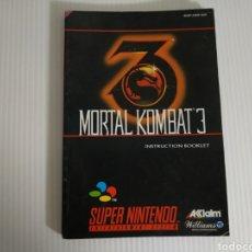 Videojuegos y Consolas: MANUAL MORTAL KOMBAT 3 SUPER NINTENDO SNES. Lote 198856555