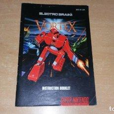 Videojuegos y Consolas: MANUAL INSTRUCCIONES VORTEX PARA SUPER NINTENDO INGLES. Lote 199686668