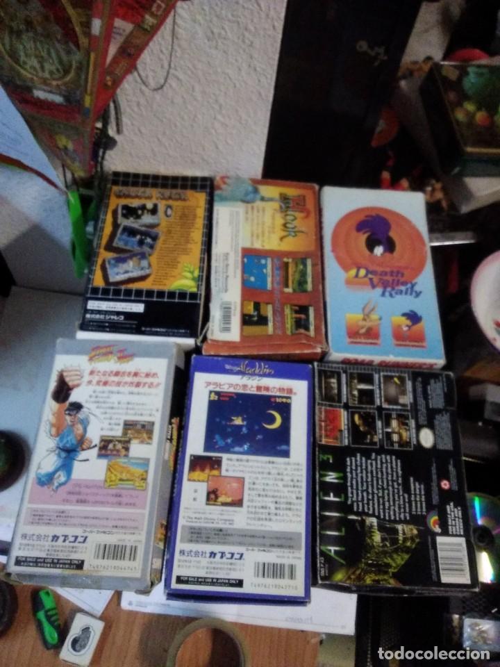 Videojuegos y Consolas: Lote 6 Juegos SUPER NINTENDO de Famicom y otros en su caja (Street fighter, Aladin, alien y otros) - Foto 2 - 200370401