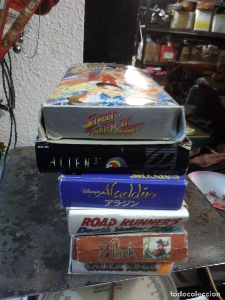 Videojuegos y Consolas: Lote 6 Juegos SUPER NINTENDO de Famicom y otros en su caja (Street fighter, Aladin, alien y otros) - Foto 15 - 200370401