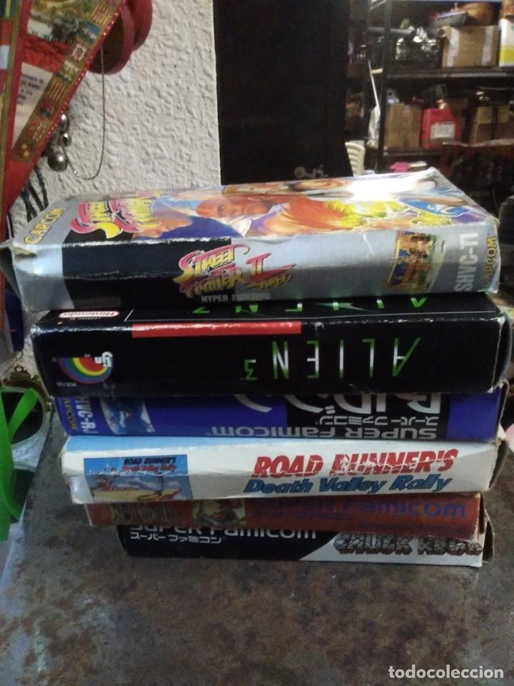 Videojuegos y Consolas: Lote 6 Juegos SUPER NINTENDO de Famicom y otros en su caja (Street fighter, Aladin, alien y otros) - Foto 16 - 200370401