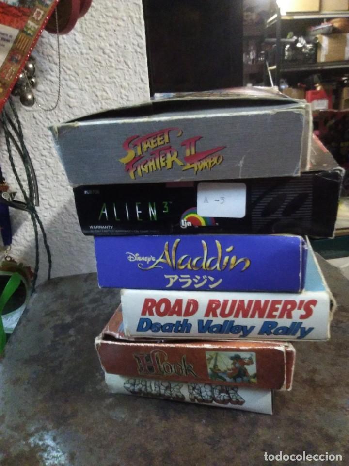 Videojuegos y Consolas: Lote 6 Juegos SUPER NINTENDO de Famicom y otros en su caja (Street fighter, Aladin, alien y otros) - Foto 17 - 200370401