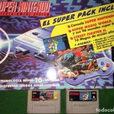 Videojuegos y Consolas: CONSOLA SUPERNINTENDO SNES + JUEGO SUPER MARIO WORLD + STREET FIGHTER II . Lote 200529663