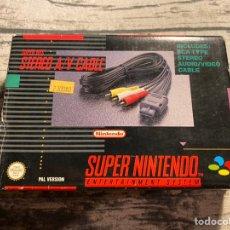 Videojuegos y Consolas: CAJA SUPER NINTENDO CABLE AV PAL. Lote 206175216