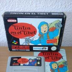 Videojuegos y Consolas: TINTIN EN EL TIBET SNES CAJA CARTUCHO Y MANUAL SUPER NINTENDO. Lote 206773912