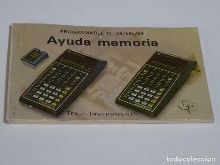 CALCULADORA MANUAL ORIGINAL TEXAS INSTRUMENTS PROGRAMABLE TI - 58 58C 59 AYUDA MEMORIA TI-58 (Juguetes - Videojuegos y Consolas - Nintendo - SuperNintendo)