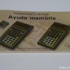 Videojuegos y Consolas: MANUAL ORIGINAL TEXAS INSTRUMENTS PROGRAMABLE TI - 58 58C 59 AYUDA MEMORIA TI-58. Lote 211509059
