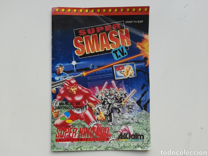 MANUAL SUPER SMASH TV SUPER NINTENDO SNES (Juguetes - Videojuegos y Consolas - Nintendo - SuperNintendo)