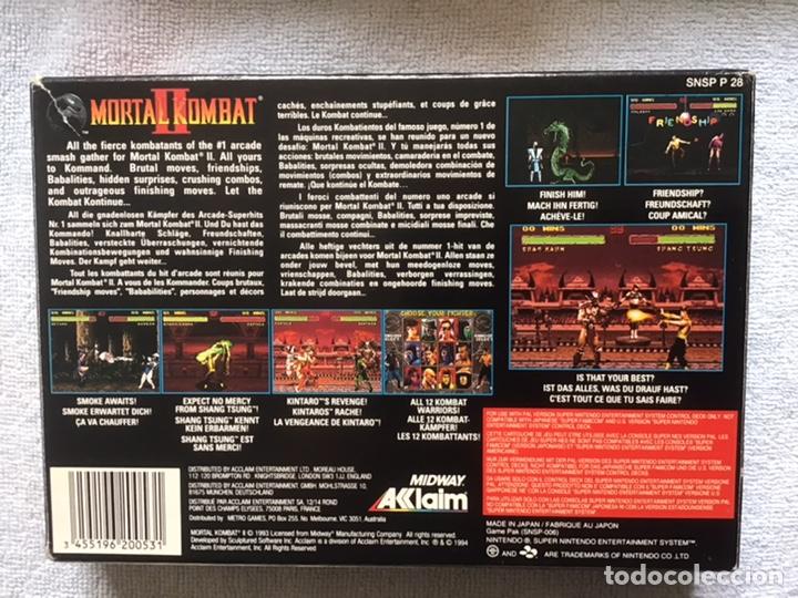 Videojuegos y Consolas: Mortal Kombat II. Super Nintendo. Midway Acclaim. Original. Caja y Juego NO MANUAL: - Foto 2 - 266293973