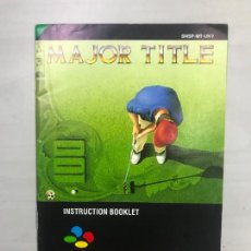 Videojuegos y Consolas: SUPERNINTENDO SNES MANUAL INSTRUCCIONES MAJOR TITLE. Lote 275870418