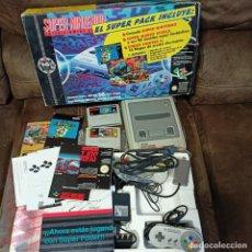 Videojuegos y Consolas: PACK CONSOLA SUPER NINTENDO SNES + JUEGO SUPER MARIO WORLD + STREET FIGHTER II COMPLETA CON MANUALES. Lote 286507188
