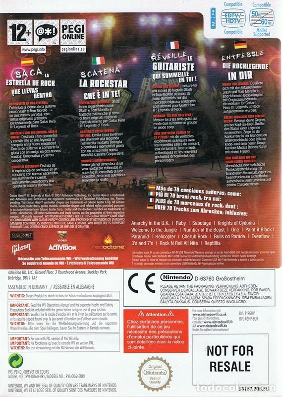 Videojuegos y Consolas: GUITAR HERO III LEGENDS OF ROCK NINTENDO WII - Foto 2 - 69480733