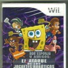 Videojuegos y Consolas: BOB ESPONJA Y AMIGOS: EL ATAQUE DE LOS JUGUETES ROBÓTICOS. NINTENDO WII PAL PRECINTADO. Lote 211506461