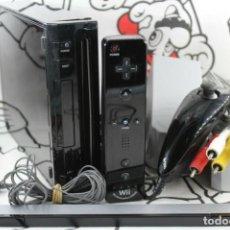 Videojuegos y Consolas: CONSOLA NINTENDO WII NEGRA CON CABLES Y MANDO FUNCIONANDO PAL ESPAÑA. Lote 270961333