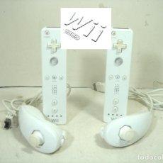 Videojuegos y Consolas: 2X MANDO WII + 2X NUNCHUK - FUNCIONANDO - CONTROL CONSOLA - RLV-003 - PAREJA ORIGINAL BLANCOS. Lote 275879753