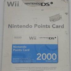 Videojuegos y Consolas: NINTENDO POINTS CARD PARA WII Y NINTENDO DS 2000 PUNTOS. Lote 277630078