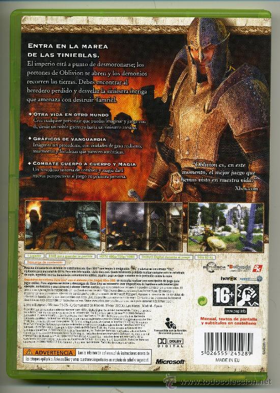 Videojuegos y Consolas: OBLIVION- VIDEOJUEGO XBOX 360 - CON MANUAL - Foto 2 - 30675134
