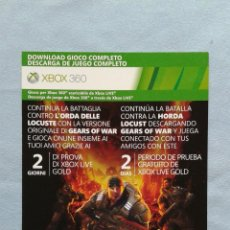 Videojuegos y Consolas: GEARS OF WAR - X-BOX 360 - DESCARGA DIGITAL JUEGO COMPLETO - X-BOX LIVE - GRATIS 2 DIAS X-BOX GOLD. Lote 43692924