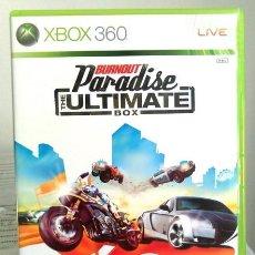 Videojuegos y Consolas: VIDEOJUEGO BURNOUT PARADISE ULTIMATE BOX. JUEGO DE XBOX 360 DE EA SPORTS. EDICIÓN PAL UK,COMPATIBLE.. Lote 61358150