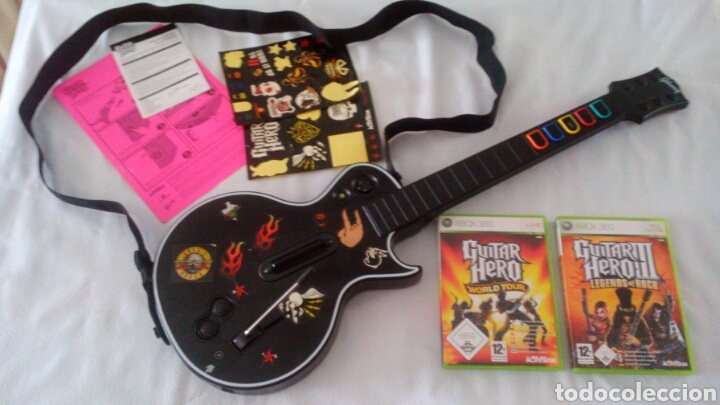 Guitar hero  guitarra y dos juegos   xbox 360 - Sold through