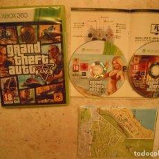 Videojuegos y Consolas: JUEGO XBOX 360 GTA 5 GTA V GRAND THEFT AUTO 2 DISCOS Y MAPA. Lote 96072867
