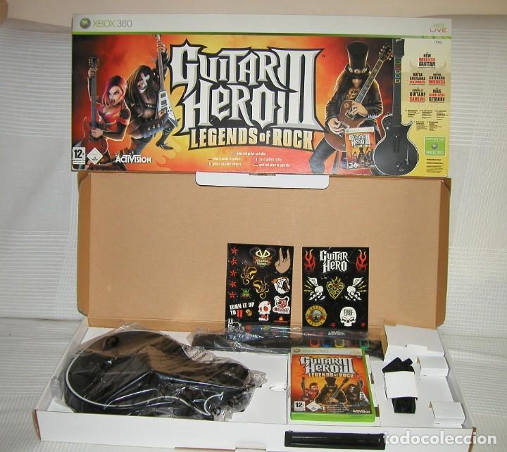 JUEGO Y GUITARRA GUITAR HERO III LEGENDS OF ROCK XBOX 360 CAJA ORIGINAL ACTIVISION AÑO 2007 IMPECABL (Juguetes - Videojuegos y Consolas - Microsoft - Xbox 360)