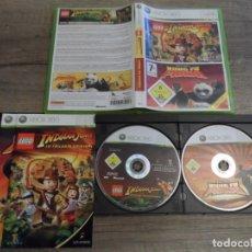 Videojuegos y Consolas: XBOX 360 LEGO INDIANA JONES / KUNG FU PANDA PAL ESP COMPLETO. Lote 151429270