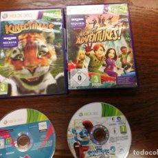 Videojuegos y Consolas: 2 JUEGOS Y 2 CAJS XBOX 360 THE SMURFS 2, LONDON 2012 Y KINECTIMALS Y KINECT ADVENTURES. Lote 156764034
