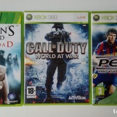 Videojuegos y Consolas: 3 JUEGOS XBOX 360 - ASSASSIN´S CREED LA HERMANDAD - CALL OF DUTY WORLD AT WAR - PES 2010. Lote 162839538