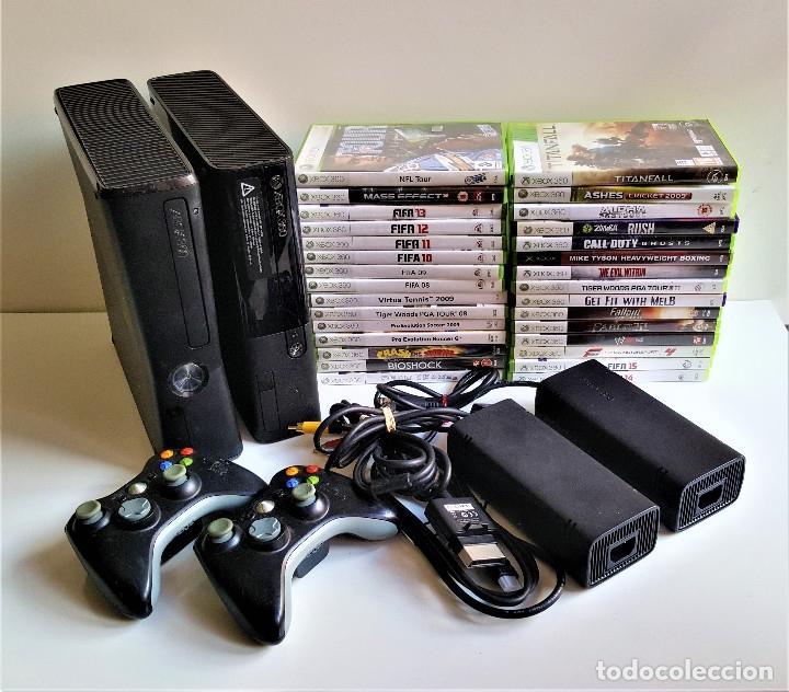 DOS CONSOLAS XBOX 360 + 30 JUEGOS VARIOS + 2 MANDOS Y CONECTORES (Juguetes - Videojuegos y Consolas - Microsoft - Xbox 360)