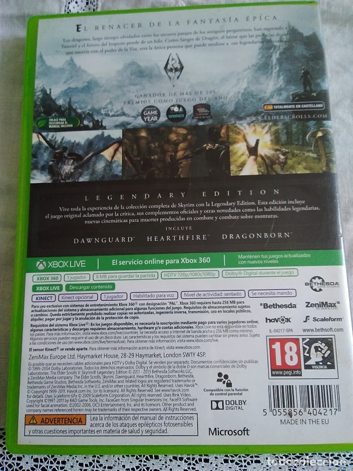 Videojuegos y Consolas: 31-XBOX 360 SKYRIN, legendary edition, sin manual - Foto 3 - 176220022