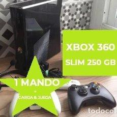 Videojuegos y Consolas: CONSOLA XBOX 360 SLIM 250 GB + MANDO + CARGA JUEGA. Lote 206214536