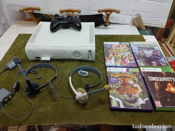 LOTE XBOX 360 CONSOLA 1 MANDO 2 AURICULARES, CABLE ANTENA Y 4 JUEGOS BLITZ, SINGULARTY Y DOS MAS (Juguetes - Videojuegos y Consolas - Microsoft - Xbox 360)
