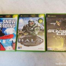 Videojuegos y Consolas: 3 XBOX - TOM CLANEY´S SPLINTER CELL - HALO COMBATE EVOLUCIONADO - SNOW BOARDING. Lote 207657958