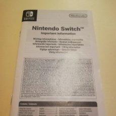 Videojuegos y Consolas Nintendo Switch: LIBRITO INFORMACIÓN IMPORTANTE NINTENDO SWITCH. Lote 230908560