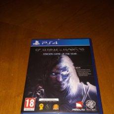 Videojuegos y Consolas PS4: SOMBRAS DE MORDOR - EDICIÓN DEL AÑO (2 CAMPAÑAS Y EXTRAS). Lote 170448640
