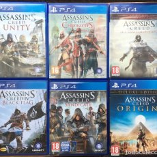 Videojuegos y Consolas PS4: SAGA 6 ASSASSIN'S CREED PS4 (UNITY, CHRONICLES, THE EZIO COLECTION, BLACK FLAG, SYNDICATE, ORIGINS). Lote 210460441