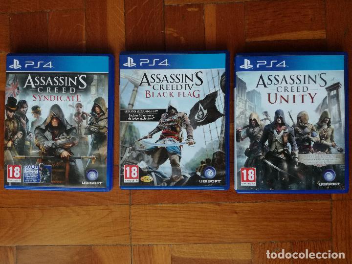 LOTE 3 JUEGOS PLAYSTATION 4 LA SAGA ASSASSINS CREED. COMPLETOS. DISCOS EN PERFECTO ESTADO (Juguetes - Videojuegos y Consolas - Sony - PS4)