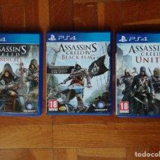 Videojuegos y Consolas PS4: LOTE 3 JUEGOS PLAYSTATION 4 LA SAGA ASSASSINS CREED. COMPLETOS. DISCOS EN PERFECTO ESTADO. Lote 222716976