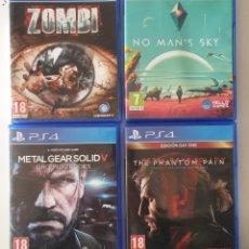Videojuegos y Consolas PS4: LOTE 4 JUEGOS SEMINUEVOS PS4. METAL GEAR SOLID V. NO MAN'S SKY. ZOMBI. METAL GEAR SOLD V THE PHANTON. Lote 262973075