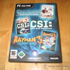 Videojuegos y Consolas: JUEGO PC THE SETTLERS HERITAGE OF KINGS CSI CRIME SCENE INVESTIGATION RAYMAN 3 HOODLUM HAVOC VARIOS. Lote 37713594