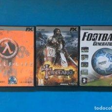 Videojuegos y Consolas: LOTE DE TRES JUEGOS PARA PC - FX - HALF LIFE - TEMPLARIO - FUTBOL GENERATION. Lote 96661959