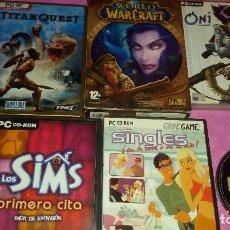 Videojuegos y Consolas: PACK DE JUEGOS PARA PC WORLD OF WARCRAFT+TITAN QUEST ED.CAJA METAL.+ONI+LOS SIMS PRIMERA CITA+SINGLE. Lote 103442623